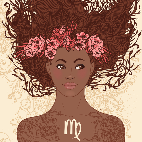 Zodiac beautiful girls set (Africans). Virgo.