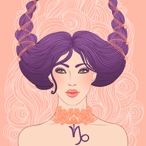 Illustration of Capricorn astrological sign as a beautiful girl