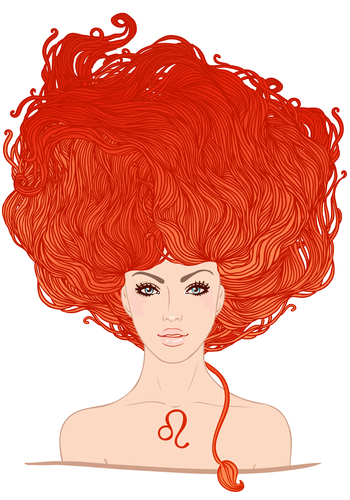 Illustration of leo zodiac sign as a beautiful girl