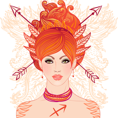 Sagittarius astrological sign as a beautiful girl