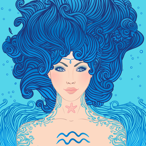Aquarius astrological sign as a girl